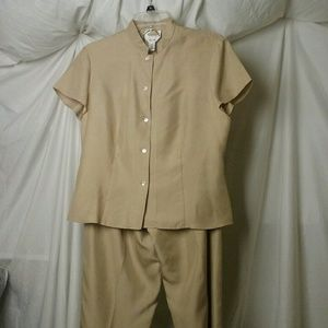 Talbots 100% Silk Tan Button Up Shirt and Pant Set